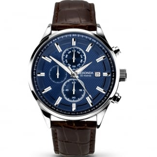 Men's Blue Dial Leather Strap Chronograph Watch 1186