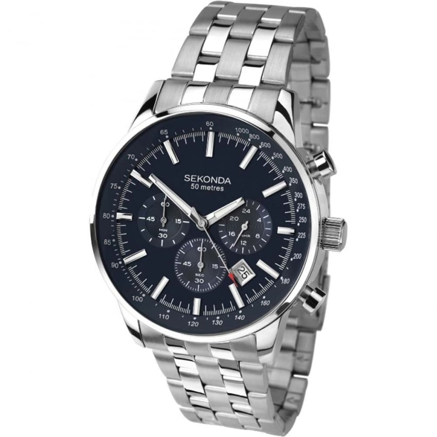 Sekonda Men's Blue Dial Steel Chronograph Watch 1008