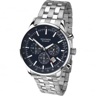 Men's Blue Dial Steel Chronograph Watch 1008