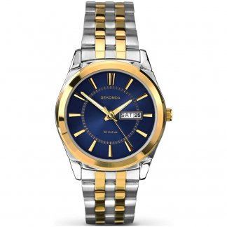 Men's Blue Dial Two Tone Day/Date Watch 1032
