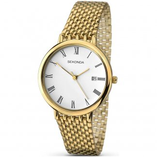 Men's Gold Plated Bracelet Watch