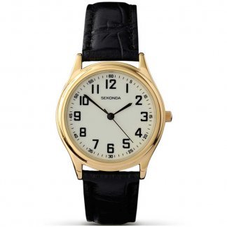 Men's Mid-Sized Black Leather Quartz Watch