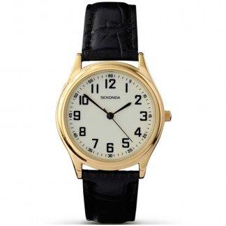Men's Mid-Sized Black Leather Quartz Watch 3243
