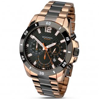 Men's Rose Gold & Grey Chronograph Watch 1006