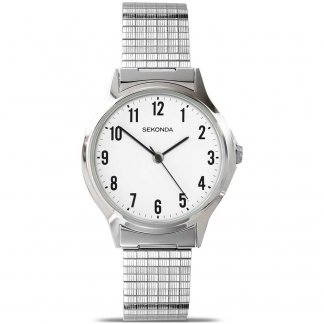 Men's Silver Expandable Bracelet Watch