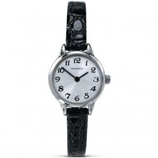 Skinny Black Leather Ladies Quartz Watch 4471