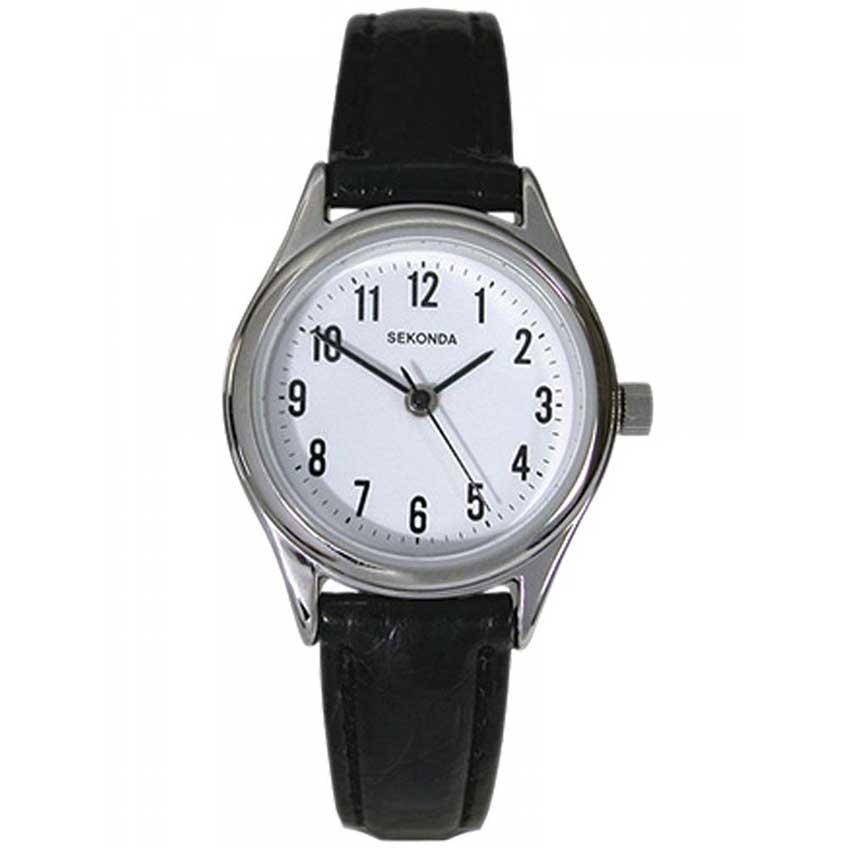 Sekonda Traditional Black Leather Ladies Watch 4491