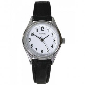 Traditional Black Leather Ladies Watch 4491
