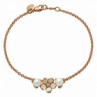 Diamond & Pearl Rose Gold Vermeil Single Flower Bracelet SLS499
