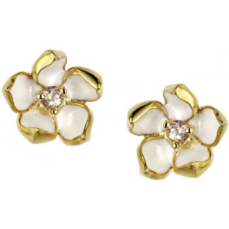 Gold Vermeil Cherry Blossom Earring Studs with Diamond