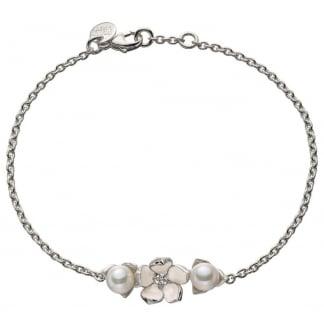 Silver Cherry Blossom & Pearl Bracelet SLS497
