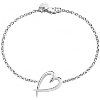 Silver Signature Heart Bracelet SLS588