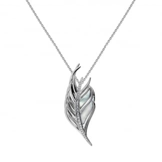 Mother of Pearl & Diamond Set Feather Pendant SLS659