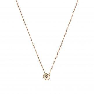 Rose Gold Vermeil Cherry Blossom Pendant With Diamond SLS221RG