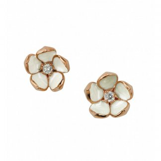 Rose Gold Vermeil Diamond Blossom Studs SLS230RG