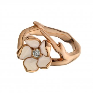 Rose Gold Single Diamond Cherry Blossom Ring SLS208RG