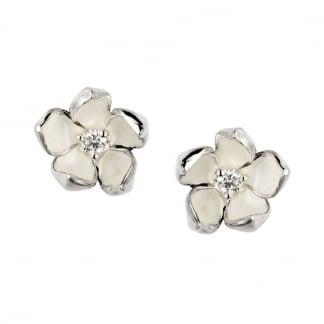 Silver & Diamond Cherry Blossom Studs SLS255