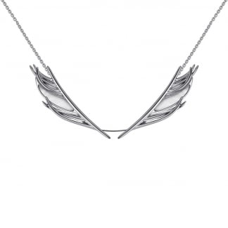 Silver Mother of Pearl Feather Statement Necklace SLS666