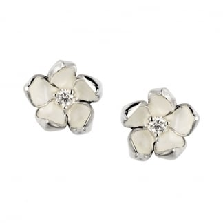 Silver & Diamond Cherry Blossom Studs