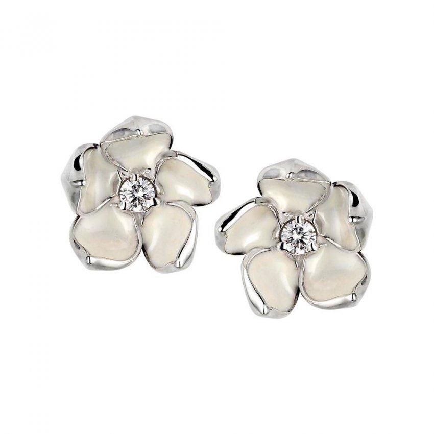 Shaun Leane Silver & Diamond Cherry Blossom Studs SLS230