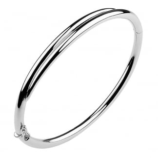 Silver White Feather Hinged Bangle SLS655