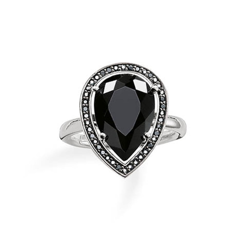 thomas sabo silver and black onyx large pear shaped ring. Black Bedroom Furniture Sets. Home Design Ideas