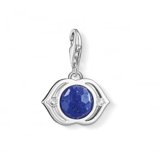 Silver and Blue Lotus Charm