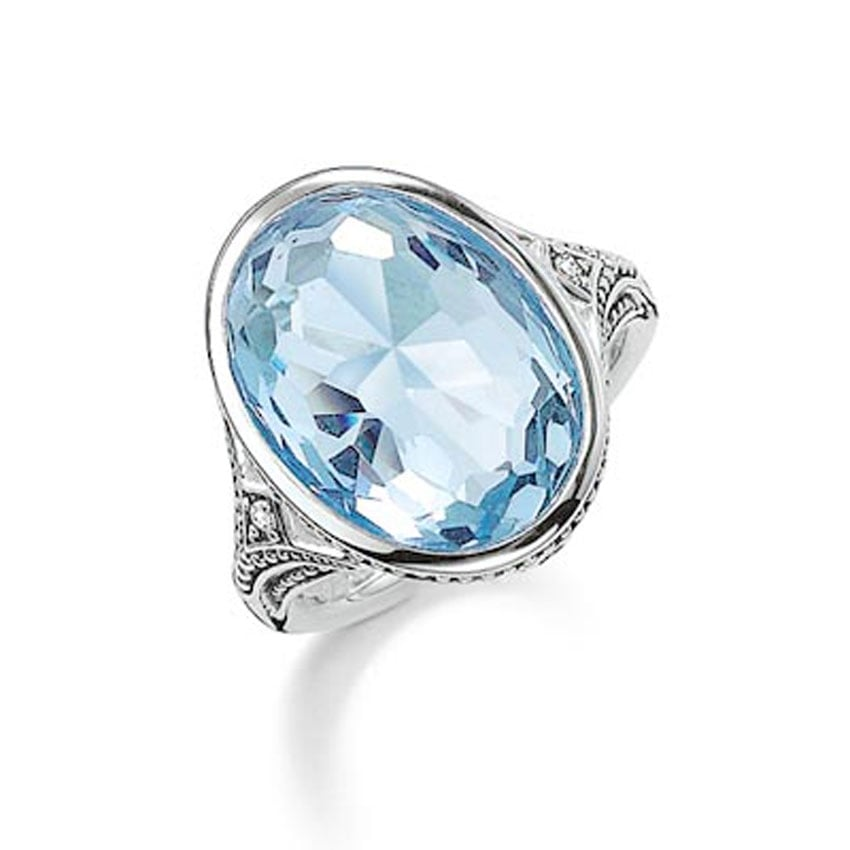 Thomas Sabo Silver and Light Blue Large Oval Ring TR2040-644-31