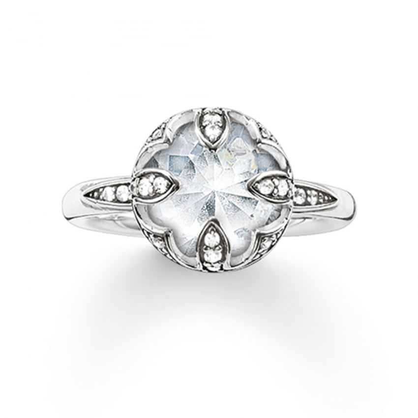 thomas sabo silver cubic zirconia lotus flower ring. Black Bedroom Furniture Sets. Home Design Ideas