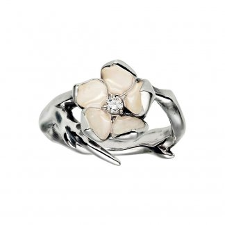 Silver Diamond Cherry Blossom Ring