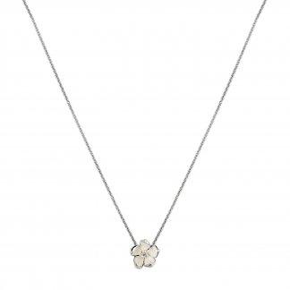 Silver & Diamond Cherry Blossom Pendant SLS221