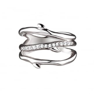 Silver & Diamond Cherry Branch Ring