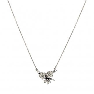 Silver Diamonds and Pearls Hoop Pendant SLS305
