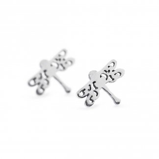 Silver Dragonfly Beauty Studs