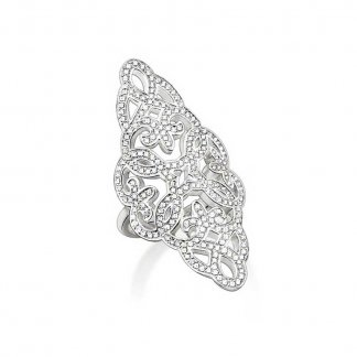 Silver Glam and Soul Stone Set Arabesque Cocktail Ring