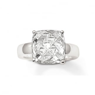 Silver Large Square Cubic Zirconia Ring