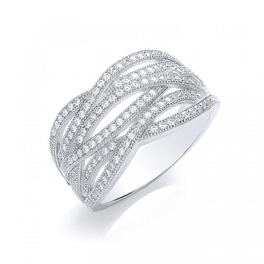 Bouton Silver Pave Wave Ring BR004