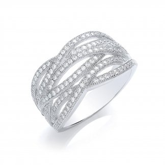 Silver Pave Wave Ring BR004