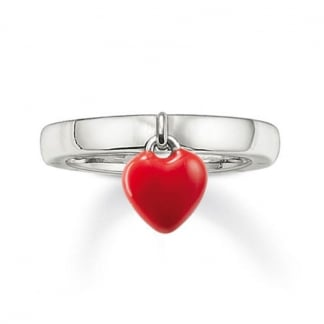 Silver Ring with Red Enamel Heart Drop