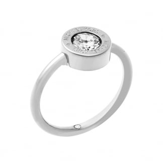 Silver Round CZ Logo Ring