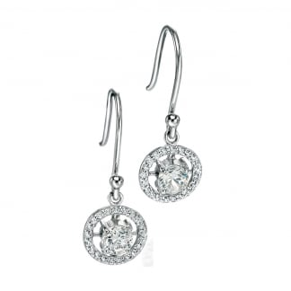Silver Round Pave Set Drop Earrings