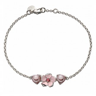 Silver Single Flower Rhodalite & Pink Pearl Bracelet SLS496