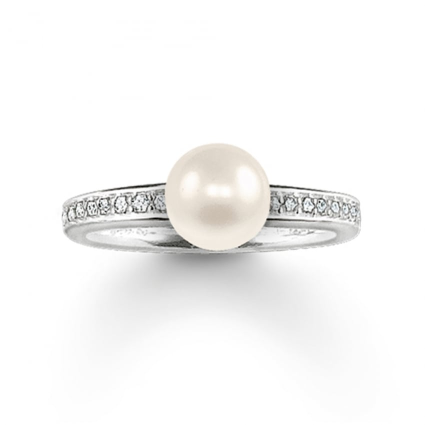 Thomas Sabo Silver Stone Set and Single Pearl Ring TR1986-167-14