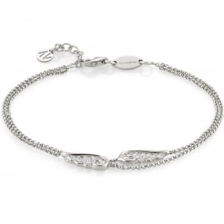 Silver & Stone Set Double Wrap Angel Wing Bracelet