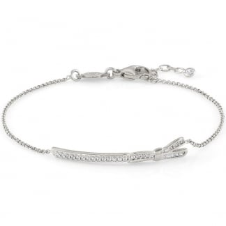 Silver & Stone Set My Cherie Long Bow Bracelet