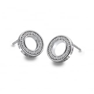 Silver Stone Set Open Halo Earrings