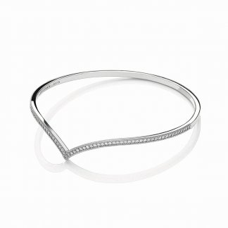 Silver Stone Set Wishbone Bangle BBA003