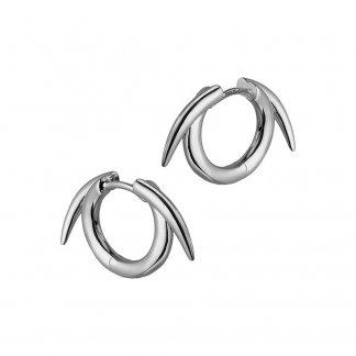 Silver Thorned Hoop Earrings SLS541