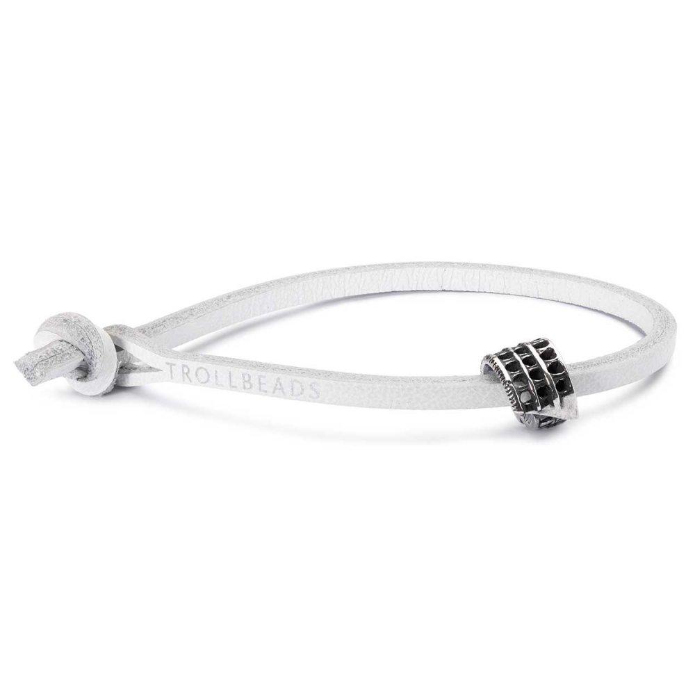 Single White Leather Bracelet