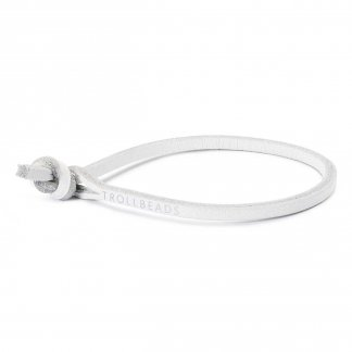 Single White Leather Bracelet L5200